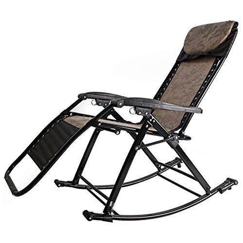 HXCD Outdoor Klappbarer Lounge Schaukelstuhl mit abnehmbarem Kissen, Camping Fishing Beach Patio Tragbarer Stuhl, Stütze 250Kg, Braun