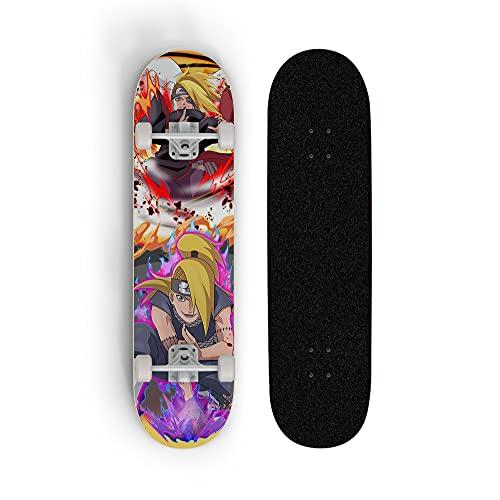 Anime Skateboard Naruto: deidara, mini crucero, patineta doble de doble rueda, patineta de cubierta de arce de 7 capas, rodamiento de carga 100 kg, scooter de calle de caminos para principiantes