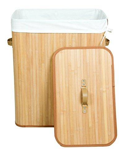 Kronenburg Bambus Wäschekorb mit Deckel, Fassungsvermögen 100 L - 62,5 x 52 x 32 cm, Natur - Farb-/Modellwahl