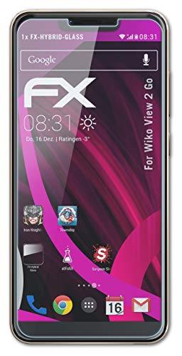atFolix Glasfolie kompatibel mit Wiko View 2 Go Panzerfolie, 9H Hybrid-Glass FX Schutzpanzer Folie