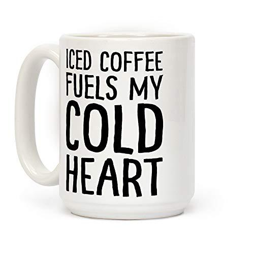 El café helado combustible mi corazón frío blanco 11 onzas de cerámica taza