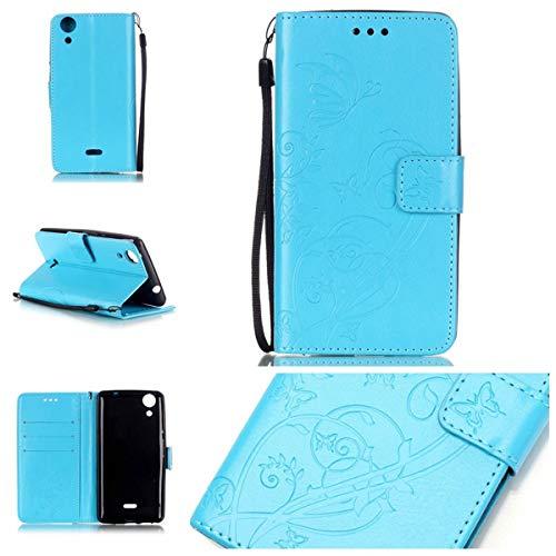 Wenlon HandyHülle Schutzhülle für Wiko Rainbow Lite, Retro pu Leder Tasche Kratzfest Handy case flip Cover case, Geprägte Schmetterling Brieftasche Handyhülle -Blau