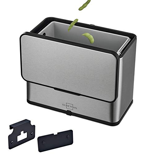 SILBERTHAL Bio Abfalleimer - Edelstahl - Geruchsarm Dank Aktivkohlefilter im Deckel - Biomülleimer für die Küche - 3l - Innenbehälter Spülmaschinenfest