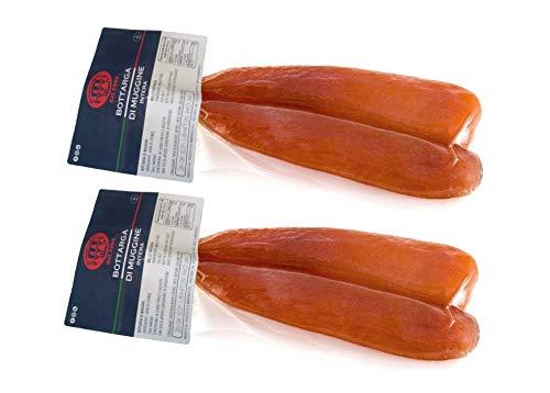 Bottarga di Muggine Su Tianu Sardu 230g GARANTITI - 2 confezioni da 100/130g - Lavorata a mano in Sardegna, Italia - Uova di muggine salate e essiccate - Caviale del Mediterraneo - Produzione artigianale sarda certificata Kosher