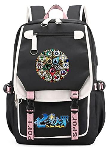 WANHONGYUE The Seven Deadly Sins Nanatsu No Taizai Anime Mochila Escolar Bolsa de Libro Estudiante Bolso de Escuela con Puerto de Carga USB Cosplay Laptop Backpack Rucksack 1221/12