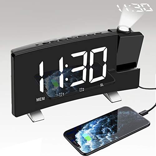 Nakeey Projectiewekker, FM-radiowekker met projectie, digitaal zonder tikken, projectieklok, tafelklok met USB-aansluiting, dual-alarm, 3 helderheid, snooze, timer, nachtkastje, slaapkamer Radiowekker zwart