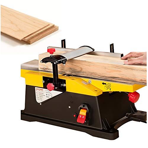 Cepilladora eléctrica de escritorio, 1800 W, 12000 rpm, ancho de la cepilladora 150 mm, profundidad de cepillo: 0-3 mm, para cortar materiales de placa.