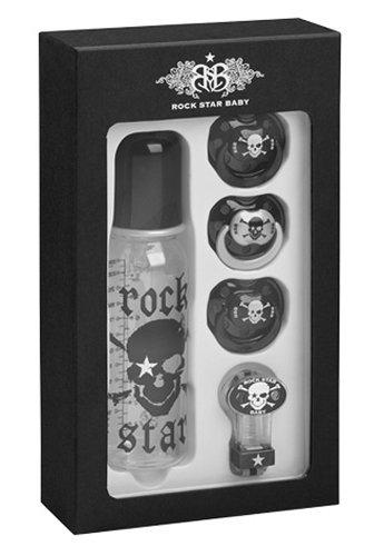 Rock Star Baby - tetinas de los biberones y caja de la roca del cráne