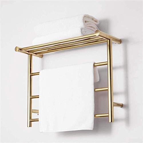 Estante de secado con raíles de toallero, calentador de toallas montado en la pared con estante superior, toallero eléctrico de acero inoxidable, calentador de toallas y estante de secado