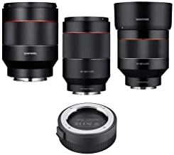 Samyang Sony E-Mount Nex Series Cameras Lens Bundle Includes - 35mm f/1.4 Auto Focus Lens, Auto Focus 50mm f/1.4 FE Lens, 85mm f/1.4 Auto Focus Lens, Lens Station for Sony E