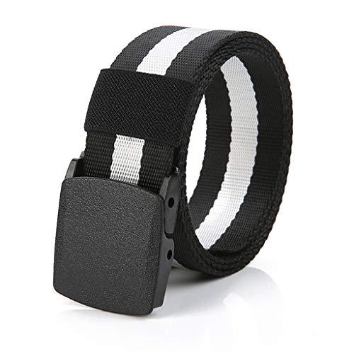 SOOY Cinturón de tela de nailon de lona larga con hebilla para hombre Cinturón de control de seguridad sin metal (Negro)