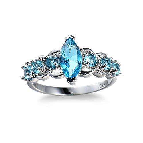 Gualiy Alianzas de boda para mujer, chapado en plata, anillo de compromiso para mujer, Cubic Zirconia,