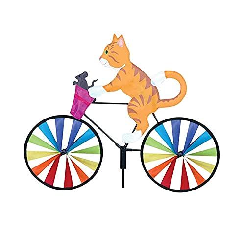 QZXX Niedliches 3D-Tier-Windrad auf dem Fahrrad Whirligig Garten Windmühle Wind Spinner Whirligig Katze Fahrrad Windrad Windspiele Gartenstecker Gartendeko FüR DraußEn GäRten (Gelbe Katze, 1 Stck)