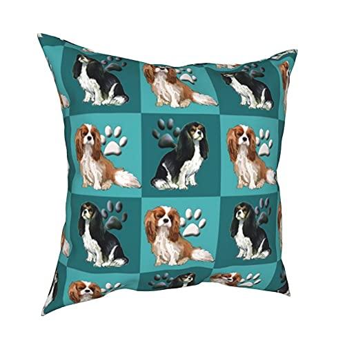 Cavalier Spaniels - Fundas de almohada decorativas para sofá, dormitorio, coche, accesorios para el hogar, 50 x 50 cm