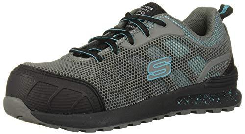 Skechers Women's Bulklin-Lyndale Industrial Shoe, Gray/Aqua, 9.5 M US