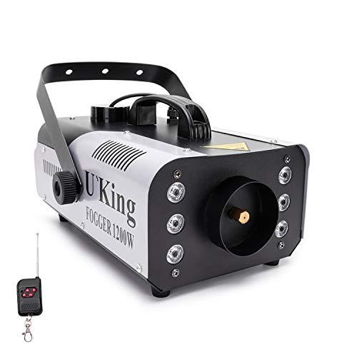 1200W Nebelmaschine outdoor mit 6 Farb Steuerbaren Lichtern,UKing RGB fog machine mit Fernbedienung und 1L Tank für Hochzeit,Party, Theater, Disco Club