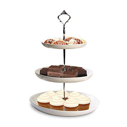 "3 Tier Cake Stand, White Ceramic with Silver Handle - Serving Platter for Cupcakes, Desserts, Buffet, Tea Party, Pastry - Dishwasher Safe (7"" 9"" 11"")"
