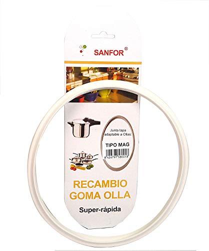 Sanfor Junta de Goma de Sellado para Tapa rápida Adaptable a Olla a presión Magefesa | Caucho | Blanca | 22 x 22 x 2 cm