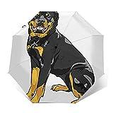 Paraguas Plegable Automático Impermeable Raza de Rottweiler de Perro Sonriente, Paraguas De Viaje Compacto a Prueba De Viento, Folding Umbrella, Dosel Reforzado, Mango Ergonómico