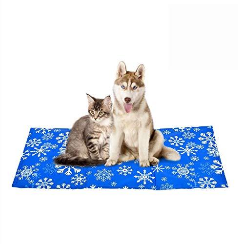 YGJT Kühlmatte für Hunde- Nicht giftig-automatisch Kühlkissen für Hunde Groß Large Blau Sommer Heißes Wetter Zubehör Für Haustier (L(50 * 90), Eisblumen)