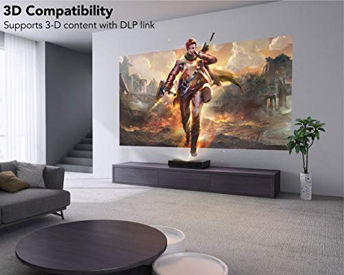 WeMax Nova Short Throw Laser Projector – 4K Resolution UHD HDR10 Display – Smart Laser Projector for Movies, Video, Gaming, High FPS Rate – Voice Command Remote – 5K+ Apps Wireless Connectivity
