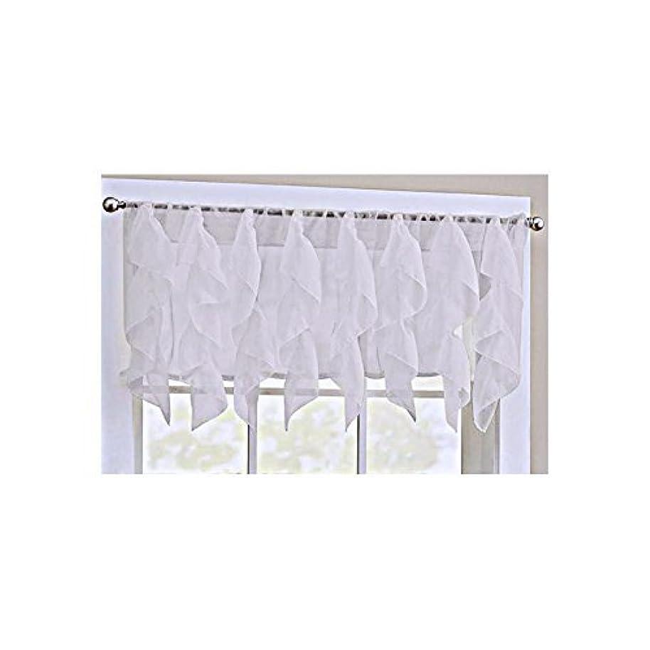 LORRAINE HOME FASHIONS Cascade White Shabby Chic Sheer Ruffled Valance pcinmvpr4598