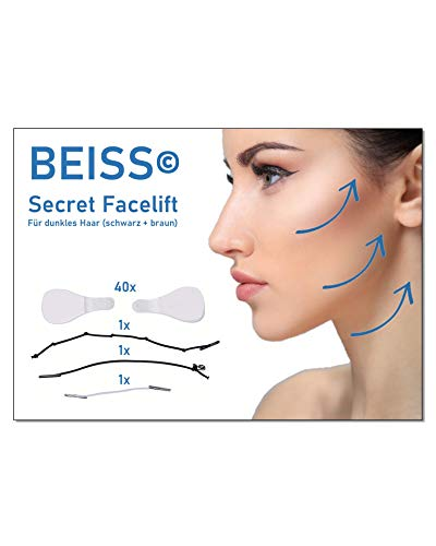 BEISS© Facelift Streifen | temporäre Straffung für Gesicht, Auge, Hals und Kinn | sofortiger und reversibler Effekt | garantiert 10 Jahre jüngeres Aussehen | für dunkles Haar