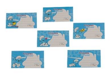 alles-meine.de GmbH 6 STK. Sticker für Hefte Heftetiketten die Schlümpfe - Etiketten Aufkleber blau / Namenssticker - Namensschilder