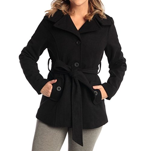 Womens Belted Blazer Alpine Swiss Wool Blend Hot Convertible Funnel Neck Collar, Black Medium