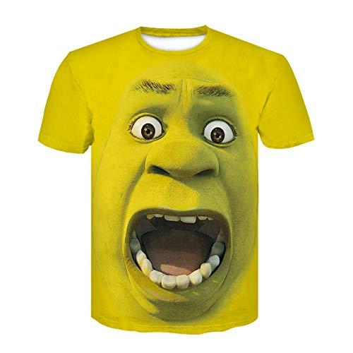Zijinlong Men's 3D Print Shrek Round Neck Large Size Short Sleeve T-Shirt,L
