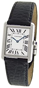 Cartier Men's W1018355 Tank Solo Stainless Steel Black Leather Watch image
