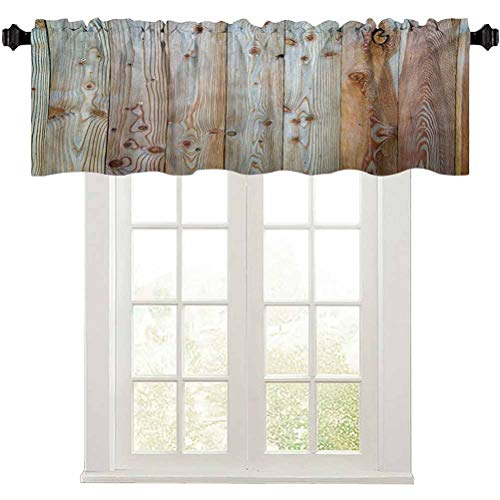 """Aishare Store Rustic Farmhouse Valance, Monochrome Wood Design Minimalist Rough Rustic Tiled Logs Row Plank Surface Texture Image, 1 Panel 42"""" W x 18"""" L Window Curtains for Living Room, Cream"""