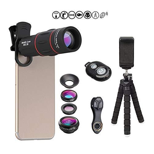 18X telescopische lens 198 ° fisheye-lens groothoek macrolens 4-in-1 universele lens voor externe camera's met statief voor mobiele telefoons, waterdichte stoffen tas