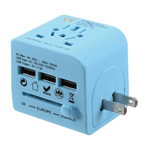 Best Buy! Gowersdee 3USB Plug Chargers Station are Powered by Universal Travel Adapter UK US EU AU (Blue)