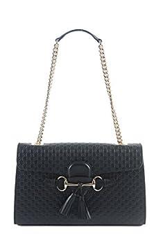 Gucci Women s Micro GG Guccissima Leather Emily Purse Handbag Black