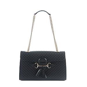 Fashion Shopping Gucci Women's Micro GG Guccissima Leather Emily Purse Handbag (Black)