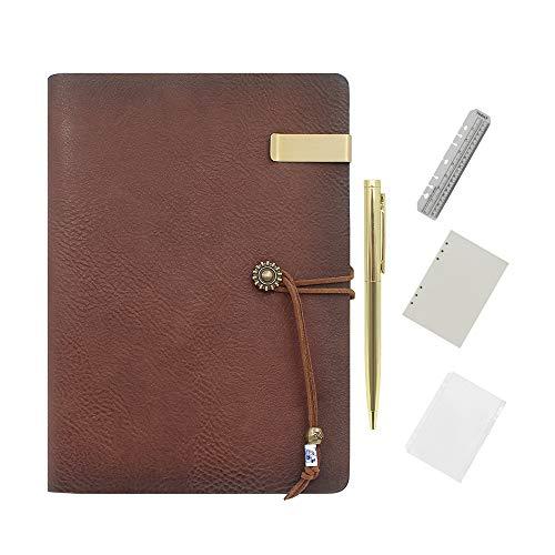 Wonderpool diario de cuero papel alineado del cuaderno con la pluma - recargable cuaderno de escritura espiral diario con negocio bloc de notas y de cuero de la vendimia de la cubierta de la ofic