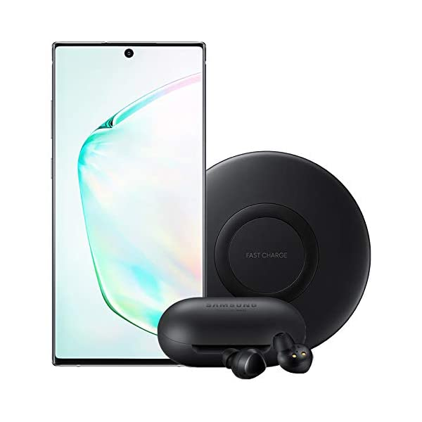 Samsung Galaxy Note 10+ Plus Factory Unlocked Cell Phone with 256GB (U.S. Warranty), Aura Glow (Silver) Note10+ with Bluetooth True Wireless Earbuds and Wireless Charger Pad Bundle