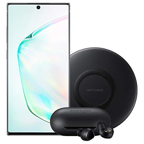 Samsung Galaxy Note 10+ Plus Factory Unlocked Cell Phone with 256GB (U.S. Warranty), Aura White/ Note10+ with Bluetooth True Wireless Earbuds and Wireless Charger Pad