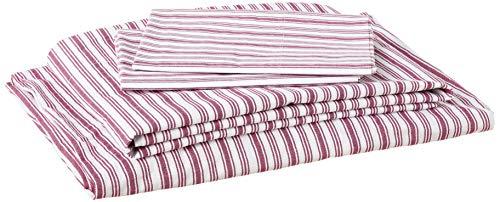Nautica - Percale Collection - Bed Sheet Set - 100% Cotton, Crisp & Cool, Lightweight & Moisture-Wicking Bedding, Queen, Coleridge Red