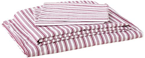Nautica | Percale Collection | Bed Sheet Set - 100% Cotton, Crisp & Cool, Lightweight & Moisture-Wicking Bedding, Queen, Coleridge Red