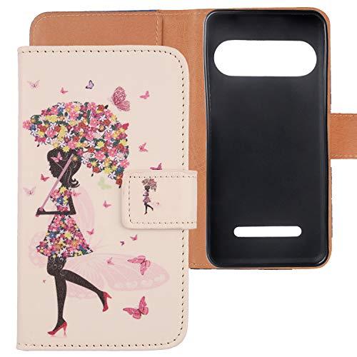 Lankashi PU Flip Leder TPU Silikon Schale Tasche Hülle Hülle Cover Handytasche Schutzhülle Etui Skin Für Doro 8035 (Umbrella Girl Design)