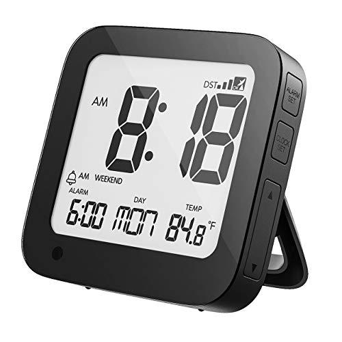 PICTEK Funkwecker Digital, Funkuhr Digital, Wecker mit Großem Display/Ziffern, Sensorgesteuerte Hintergrundbeleuchtung, Alarm-Wochenendemodus, Temperatur, Datum, Ausklappbarer Standfuß(Inkl.Batterien)