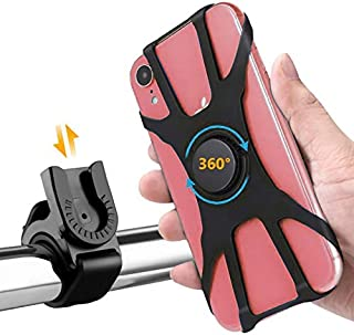 """Bike Phone Mount 360 Degree Rotation Adjustable Silicon Holder 4-6.5"""" Cell Phones for Motorcycle..."""