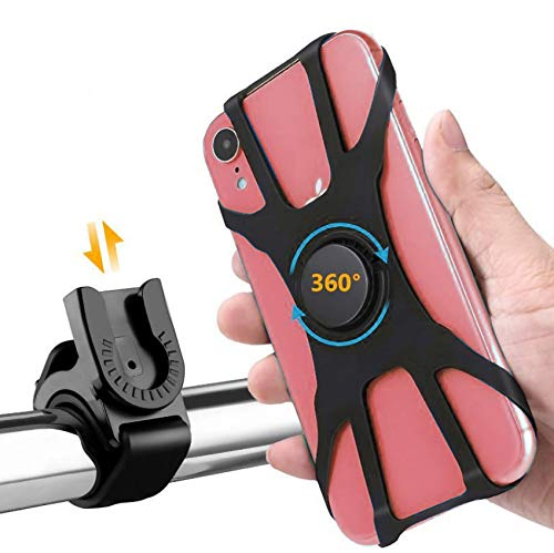 """Bike Phone Mount Upgraded Design 360 Rotation Adjustable Silicon Holder 4-6.5"""" Cell Phones for Motorcycle Bicycle GPS iPhone ProMax, X Max, XR, 8,8 Plus, Samsung S20, S10"""