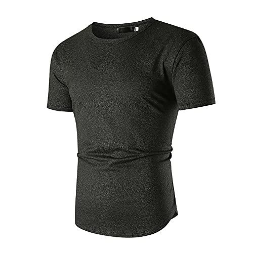 CFWL Camiseta Fina De Cuello Redondo Informal para Hombre con DiseñO De Dobladillo En Arco, Camiseta De Manga...