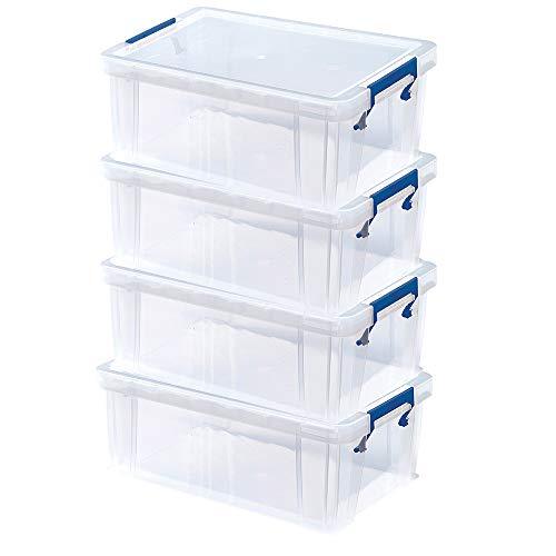BANKERS BOX ProStore Aufbewahrungsbox mit Deckel 10 Liter aus Plastik (Innenmaße 14 x 34 x 21.5cm), 4 Stück