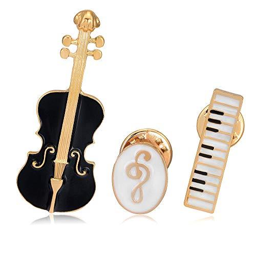 XZFCBH Mode Nieuwe Viool Symbool Toetsenbord Instrument Emaille Broche Corsage Pin Geschenken voor Muziek Leraar Shirt Kraag Decoratie