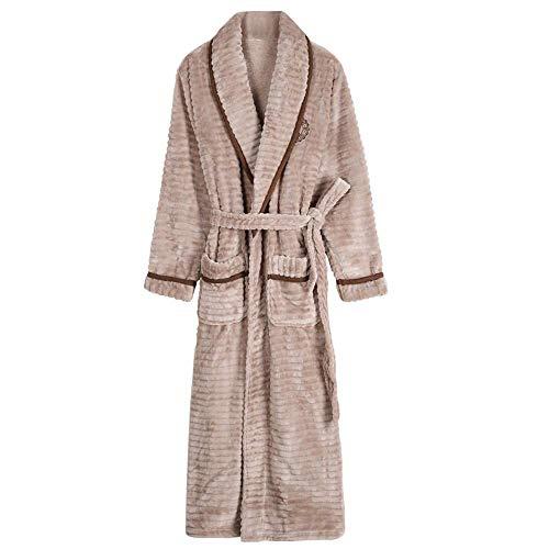 WEI-LUONG Camisón de Franela Batas más Gruesa de Terciopelo Caliente del Invierno Pijamas de los Hombres de más Largo Albornoces paño Grueso y Suave Suave estupendo Homewear, XXL japonés