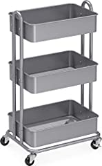 "Heavy-duty 3-tier metal rolling utility cart for storage and saving space Comes with Heavy duty 2"" Casters/Wheels with Brakes (2 lockable) Sturdy Metal construction with Classic Black paint Dimension:13.5"" L x 17.25'' W x 32'' H"